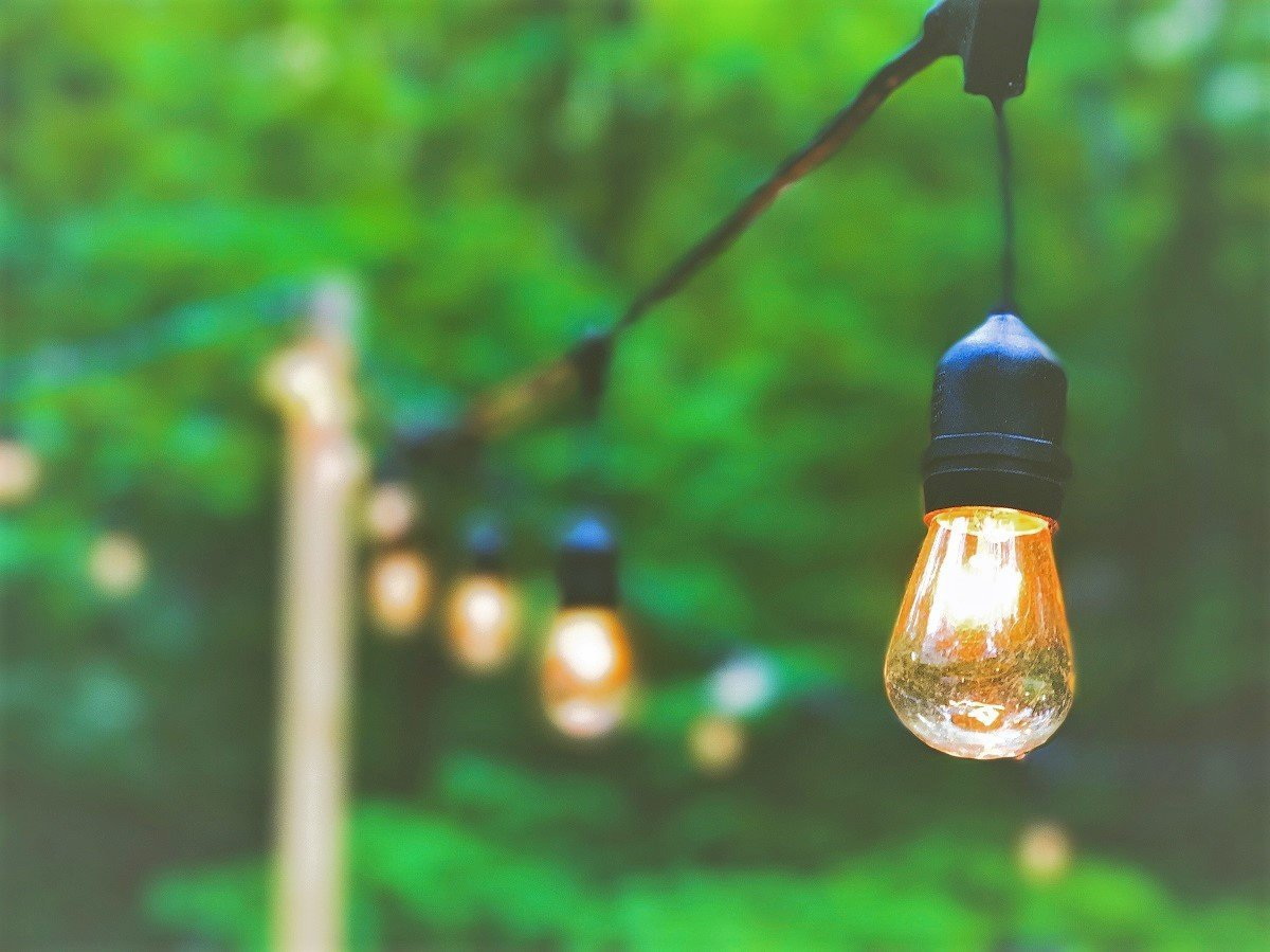Get creative with patio lighting to not only brighten the space, but also had visual creativity.